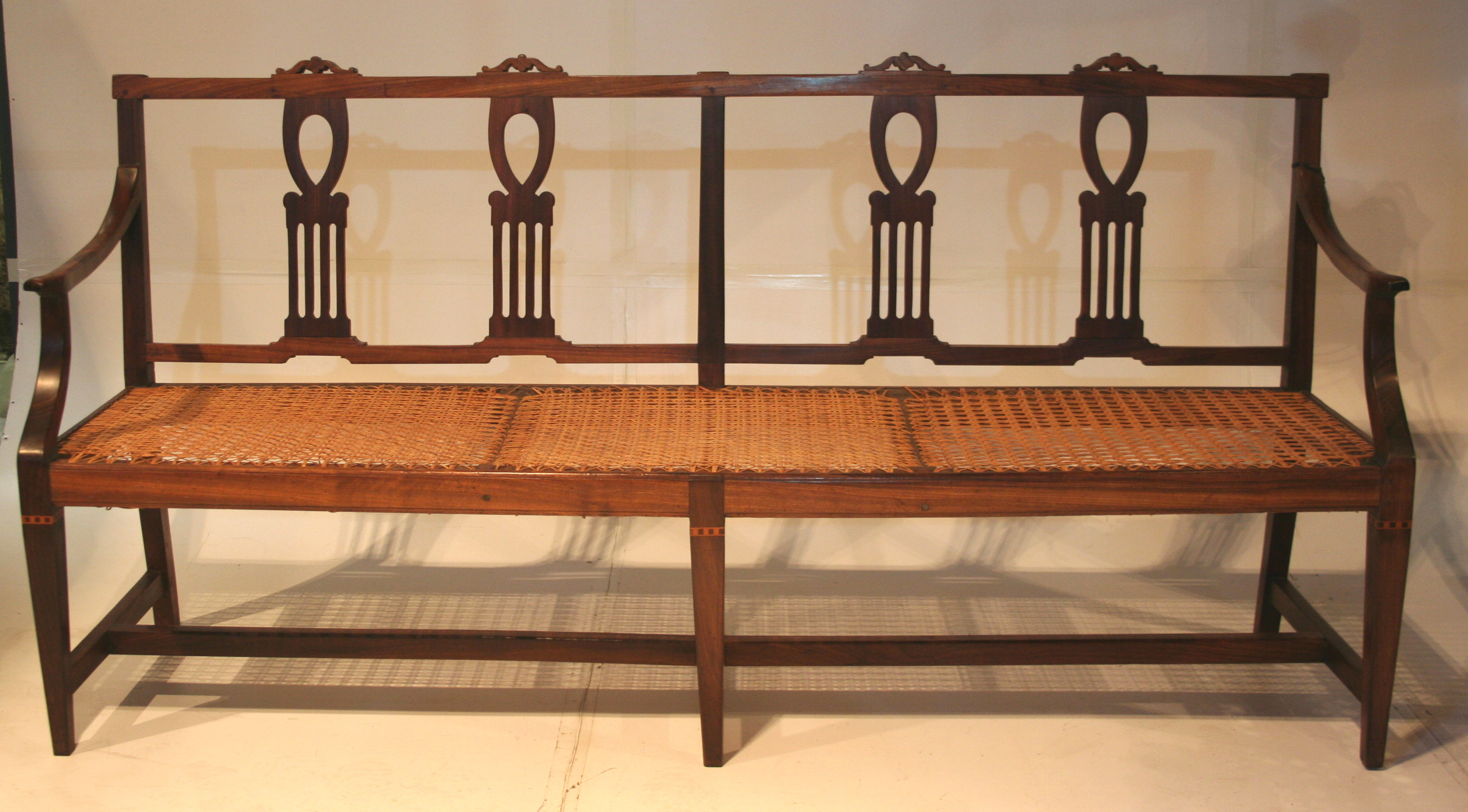 A Rare Cape Neo Classical Stinkwood Fiddle Back Riempies Bench